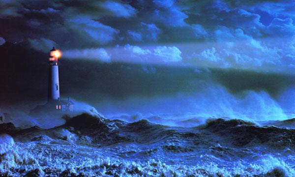 Light House in Stormy Night