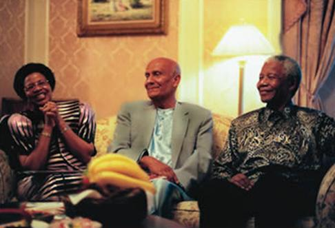 Mandela with Sri Chimnoy and Graca Machel