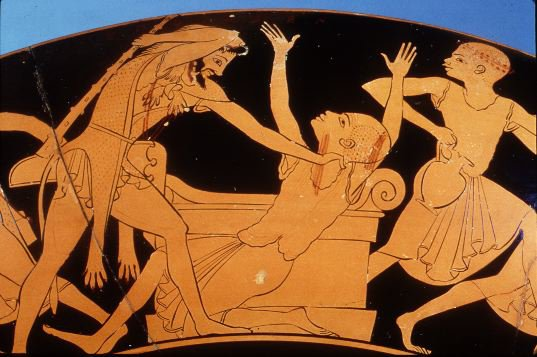 Hercules takes the upper hand and places Busiris back on the altar.