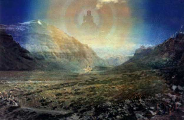 The Wesak Valley in Tibet. The Buddha returns each year to preside over the gathering of Masters (pentagram) and pilgrims.