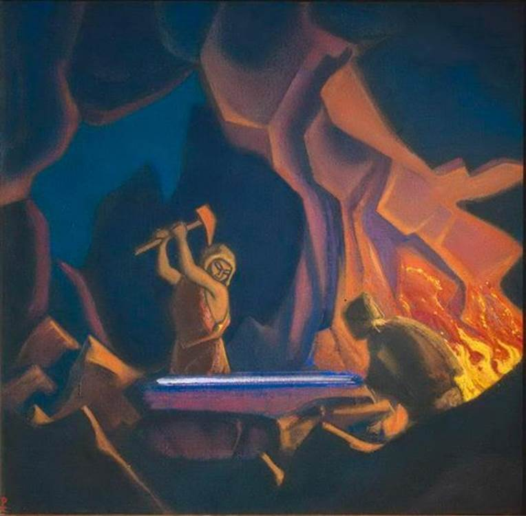 Forging the Sword Nibelung [From Norse Mythology. Nicholas Roerich, 1941.]