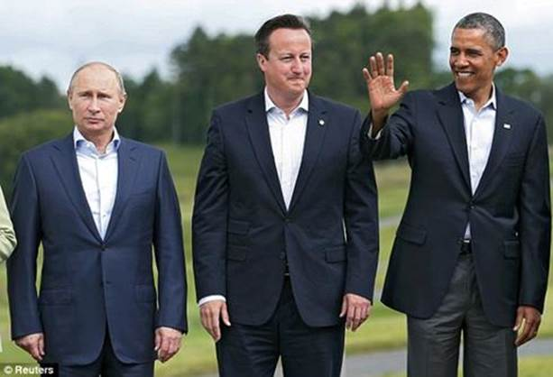 Russia, UK, USA: Putin, Cameron and Obama.
