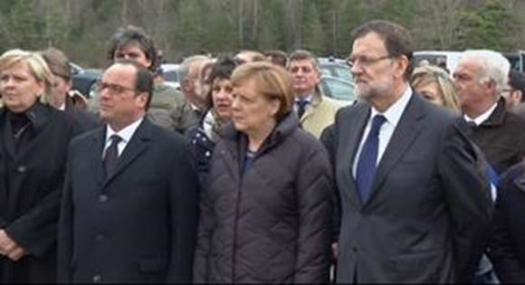 French, German and Spanish leaders at crash site.