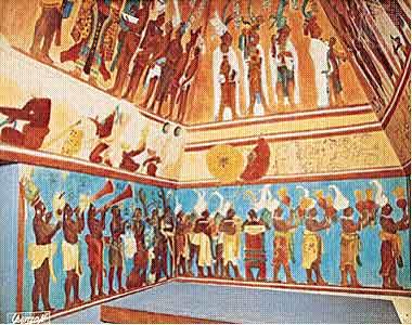 Mayan fresco from Bonampak … Chiapas, Mexico